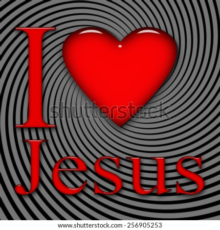 I love Jesus, font, heart with black and gray background - stock photo