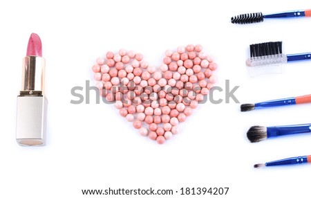 I love make-up. Conceptual photo. Isolated on white - stock photo