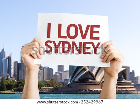 I Love Sydney card with Opera House background - stock photo