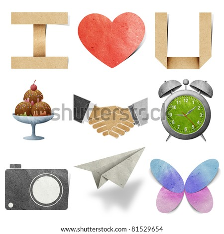 I  love tag recycled paper craft stick on white background - stock photo