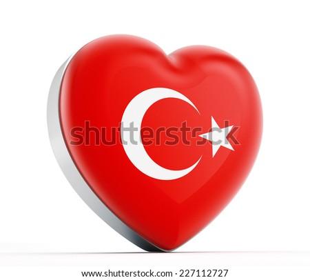 I love Turkey heart shaped Turkish flag. - stock photo