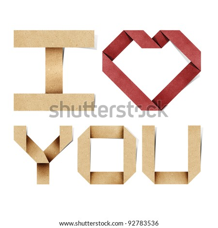 i love you alphabet recycled paper craft - stock photo