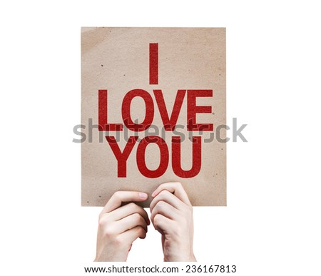 I Love You card isolated on white background - stock photo