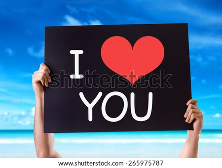 I Love You card with beach background - stock photo