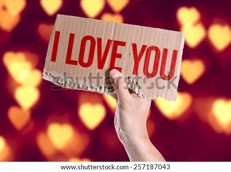 I Love You card with heart bokeh background - stock photo