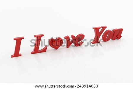 I love you 3d text - stock photo