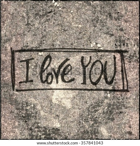 I love you, hand lettering - handmade calligraphy - stock photo