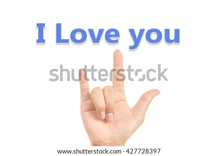 I love you in  hand sign isolated on white - stock photo