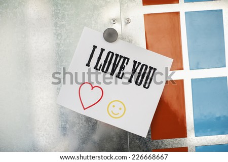 I love you note on metallic magnet board - stock photo