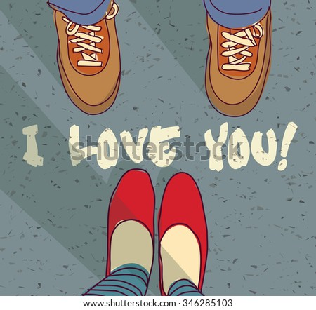 I love you sign young couple card . Woman and man foots and sign I love you. Color illustration.  - stock photo