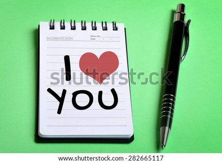 I Love You word on notebook page - stock photo