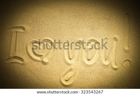 I love you word on sand - stock photo