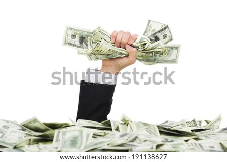 I'm rich. rich business man drowning in money - stock photo