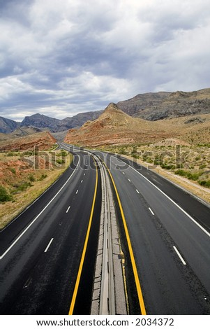 I-15 near the Virgin River in Arizona - stock photo