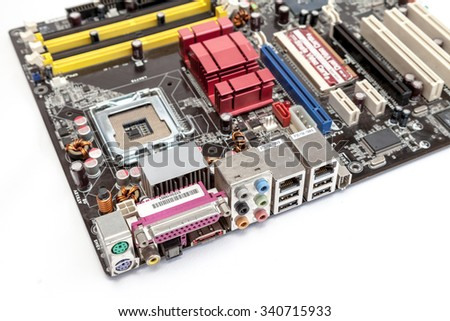 I/O ports of computer motherboard white background isolated - stock photo