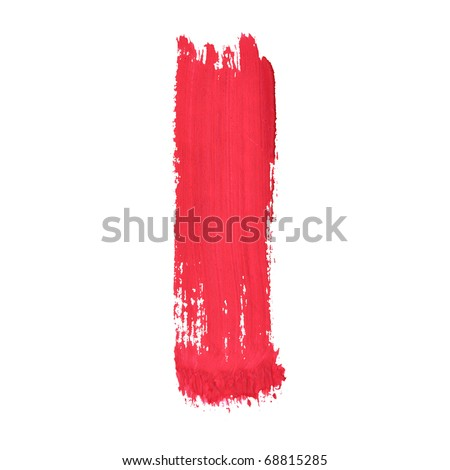 I - Red handwritten letters over white background - stock photo
