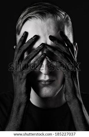 I see nothing hear nothing nothing to say - stock photo