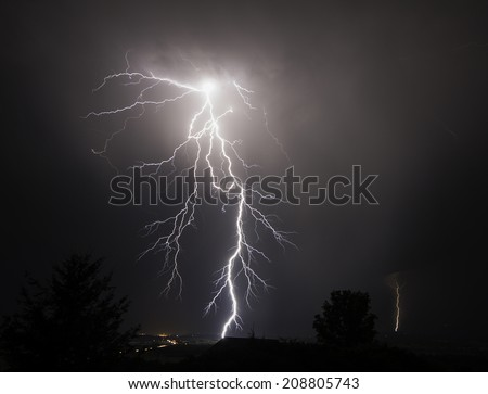 I-5 Thunderstorm In the Mid Willamette Valley - stock photo