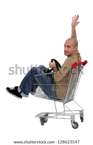 I transformed my trolley into a cart - stock photo