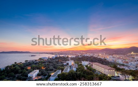 Ibiza island after sunset landscape. View from Dalt Vila fortress. Spain - stock photo