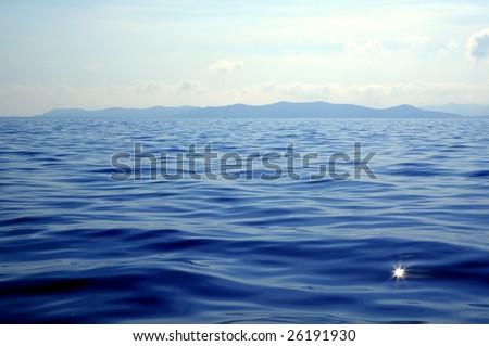 Ibiza island seascapes in Spain. Mediterranean sea - stock photo