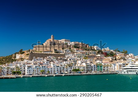 Ibiza skyline on a beautiful summer day. - stock photo
