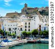 IBIZA, SPAIN - SEPTEMBER 17: Port and old town of Ibiza Town on September 17, 2012 in Ibiza, Balearic Islands, Spain. With a population of 48,484, the city is the capital of this tourist island - stock photo