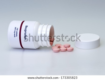 Ibuprofen bottle and tablets.  Label is not real. - stock photo