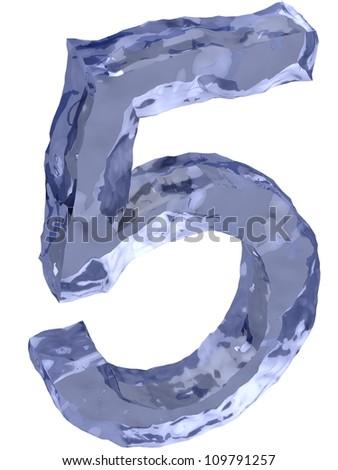 Ice alphabet number 5 - stock photo
