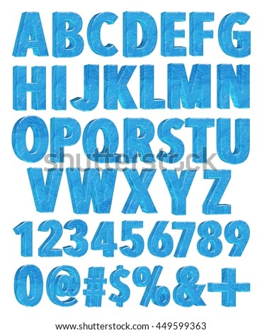 Ice alphabet with number and sign in 3D rendered on white background. - stock photo