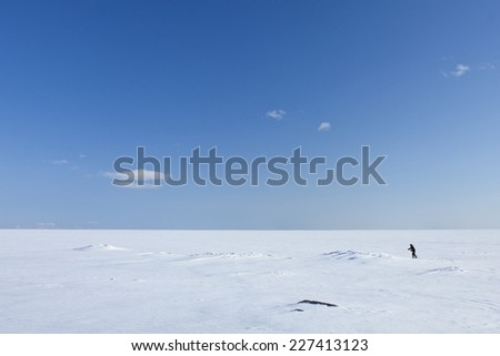 Ice and snow on a sunny sea, ocean. Skier far out on the white winter sea. - stock photo
