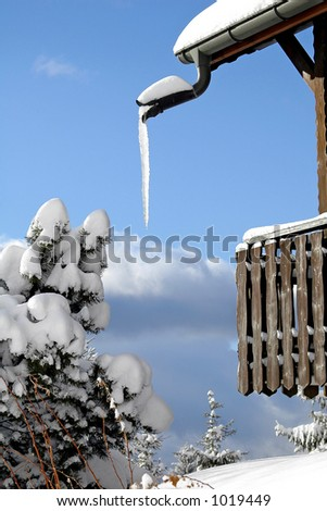 Ice at the balcony - stock photo
