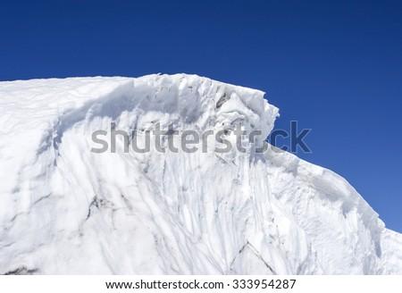 Ice barrier in Antarctica - stock photo