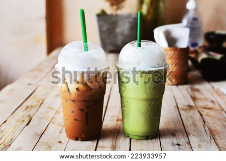 ice cappuccino coffee and matcha green tea frappe - stock photo