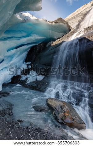 Ice cave at the Worthington glacier Alaska - stock photo