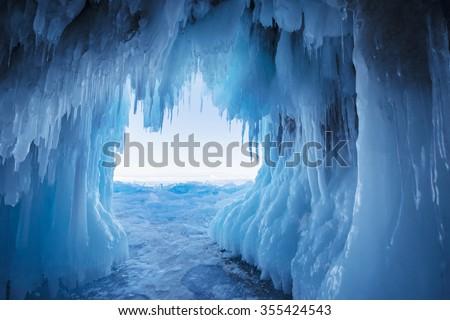 Ice Cave, Lake Baikal, Russia - stock photo