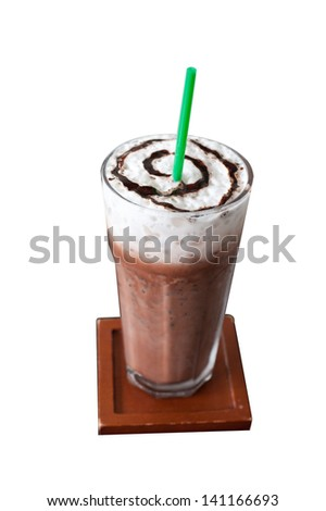 Ice chocolate on white background with clipping path ,shallow dof - stock photo