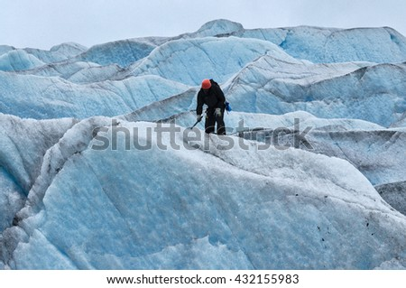 Ice climbing Mendenhall Glacier, Juneau, Alaska - stock photo