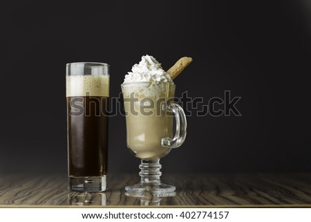 ice coffee and ice latte - stock photo