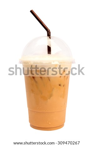 Ice coffee isolate on white background. - stock photo