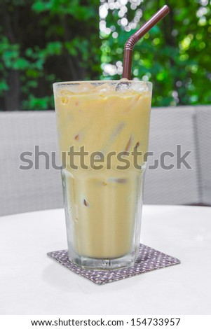 ice coffee with milk - stock photo