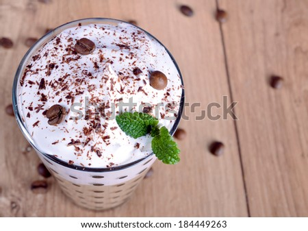 Ice coffee with whipped cream - stock photo