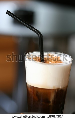 ice cold cappuccino espresso  coffee with cream and cinnamon greek and italian - stock photo