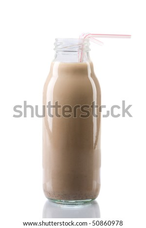 Ice cold chocolate milk in a bottle - stock photo
