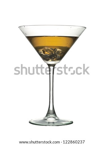 Ice cold glass of golden cocktail - stock photo