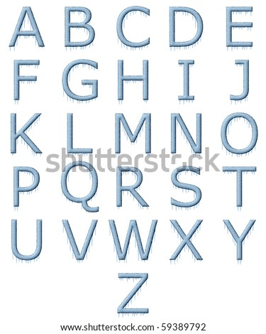 Ice Covered Alphabet with Icicles - stock photo