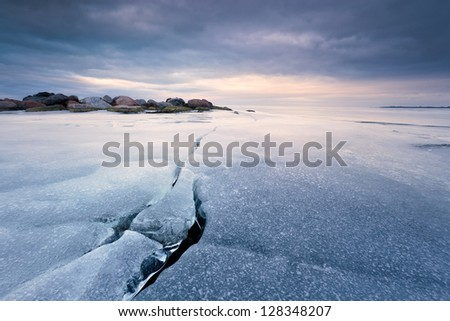 ice crack - stock photo