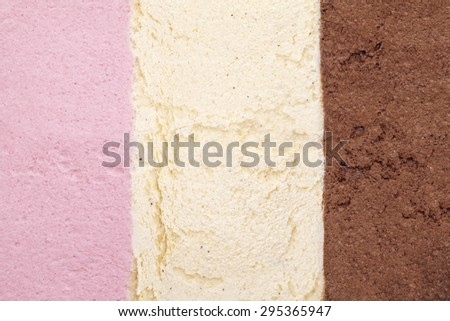 ice cream background with strawberry, vanilla and chocolate - stock photo