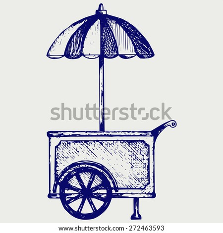 Ice cream cart. Doodle style. Raster version - stock photo