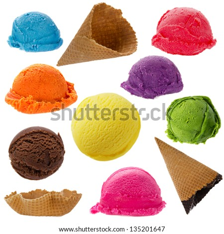 Ice cream collection on white background - stock photo